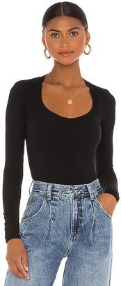 Enza Costa Brushed Supima Cotton Long Sleeve Horseshoe Bodysuit