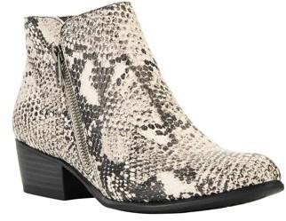 Portland Boot Company Snake Double Zip Block Heel PU Booties (Women's)