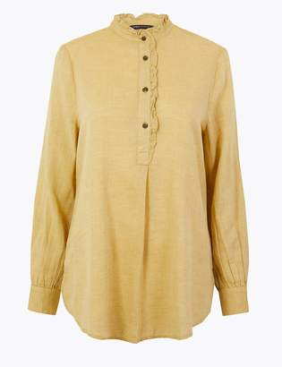 M&S CollectionMarks and Spencer Cotton Rich Longline Blouse