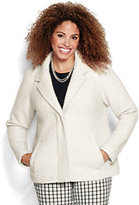 Classic Women's Plus Size Boucle Wool Jacket-Ivory