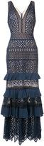 Tadashi Shoji frill tiered plunge gown - women - Cotton/Nylon/Polyester - 4