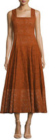 Derek Lam Sleeveless Eyelet Midi Dress, Orange