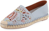 Valentino Embroidered Smooth Flat Espadrille, Blue