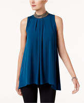 Alfani Embellished Handkerchief-Hem Top, Created for Macy's