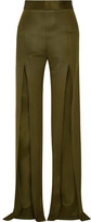 Balmain Stretch-knit Wide-leg Pants - Army green