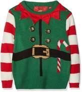 The Christmas Workshop Boy's Kids Christmas 3D Jumper - Elf Suit Green 3-4 Years