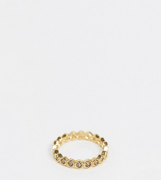 Reclaimed Vintage inspired 14k mix and match stacking ring with CZ stones in gold