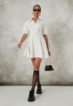 Missguided White Mock Pearl Puff Sleeve Skater Shirt Dress