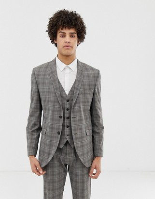 Selected slim suit jacket in gray sand check