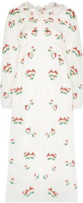 Yuhan Wang Peach Print Midi Dress