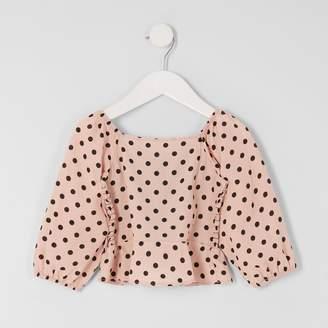 River Island Mini girls Pink polka dot puff sleeve top