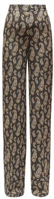 Altuzarra Bani Paisley-print Silk Wide-leg Trousers - Womens - Black Print