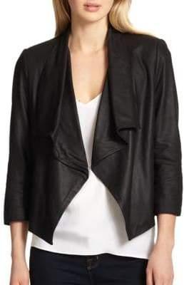 Alice + Olivia Women's Draped Leather Jacket - Black - Size XS