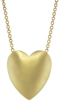 Irene Neuwirth Extra Large Flat Heart Necklace - Yellow Gold