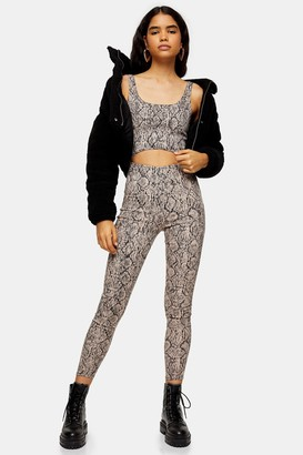 Topshop Womens Pink Snake Print All In One Catsuit - Pink