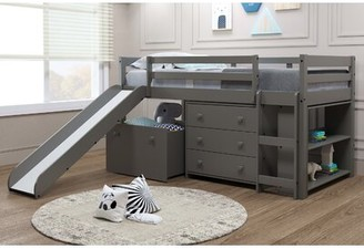 Harriet Bee Renley Complete Twin Low Loft Bed with Drawer and Bookcase Bed Frame Color: Gray