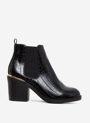 Dorothy Perkins Womens Black Crocodile Design 'Ansty' Chelsea Boots