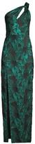 Aidan Mattox Metallic Floral One-Shoulder Gown