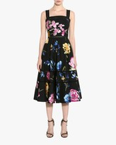 Marchesa Embroidered Lattice-Trim A-Line Dress