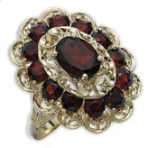 Tatitoto Gioie Women's Ring in 18k Gold with Garnet, Size 7.5, 6.6 Grams