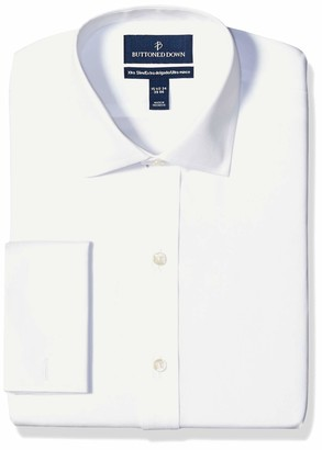 """Buttoned Down Xtra-slim Fit Spread-collar French Cuff Non-iron Dress Shirt White 16"""" Neck 33"""" Sleeve"""