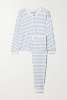 Morgan Lane Kaia Striped Stretch-cotton Jersey Pajama Set - Blue