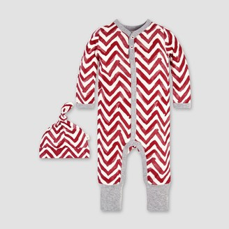 Burt's Bees Baby Burt' Bee Baby Girl' Organic Cotton Watercolor Chevron Ruffled Coverall & Hat et - 18M