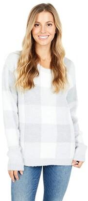 Tribal Long Sleeve Plaid Sweater (Grey Mix) Women's Sweater