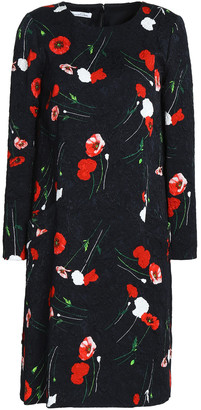 Oscar de la Renta Floral-print Cotton-blend Jacquard Dress