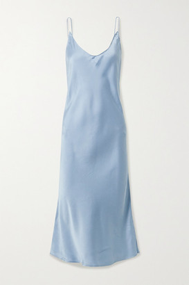 Skin Terra Stretch-silk Satin Chemise - Blue