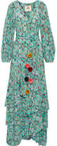 Figue Frederica Tiered Floral-print Silk Crepe De Chine Maxi Dress - Turquoise