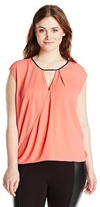 Single Dress Women's Plus Size Flip Front Sleeveless Blouse