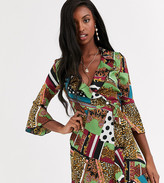 Outrageous Fortune Tall ruffle wrap mini dress with fluted sleeve in scarf print