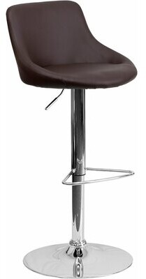 George Oliver Crotty Low Back Adjustable Height Swivel Bar Stool Upholstery: Brown