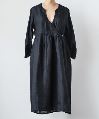 Embellish Women's Casual Dresses Black - Black Linen Surplice Dress - Women