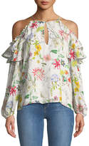 Parker Abby Cold-Shoulder Floral-Print Silk Blouse