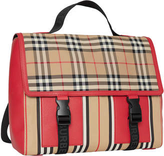 Burberry Kid's Check & Icon Stripe Backpack
