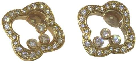 Chopard Happy Diamond 18k Yellow Gold Clover Shaped Earrings