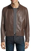 Bally Leather Cafe Racer Jacket, Brown