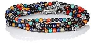 M. Cohen Men's Bead & Skull Charm Wrap Bracelet