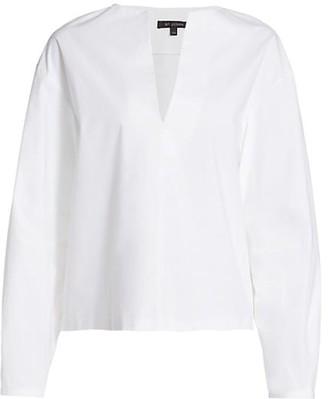 St. John Luxe Poplin Deep V-Neck Drop Shoulder Shirting Top