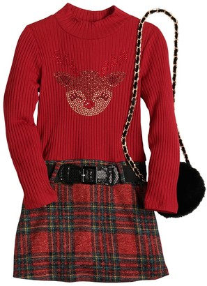 Knitworks Girls 4-6x Knit Works Reindeer Holiday Dress Set