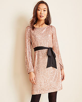Ann Taylor Petite Satin Belted Sequin Shift Dress