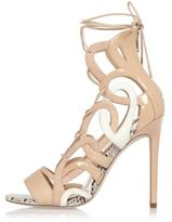 River Island Womens Nude lace-up caged heels