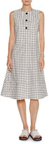 Marni Grid-Print Poplin A-Line Dress, White