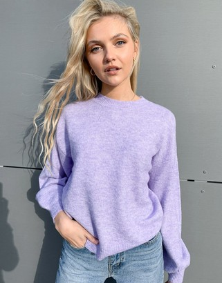 Pieces knitted jumper with open back in lilac