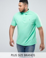 Tommy Hilfiger PLUS Luxury Pique Polo Flag Logo in Light Green