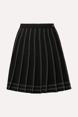 Off-White Off White Pleated Twill Mini Skirt - Black