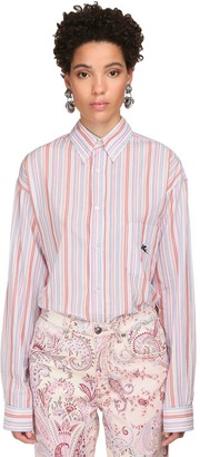 Etro Oversize Striped Cotton Poplin Shirt
