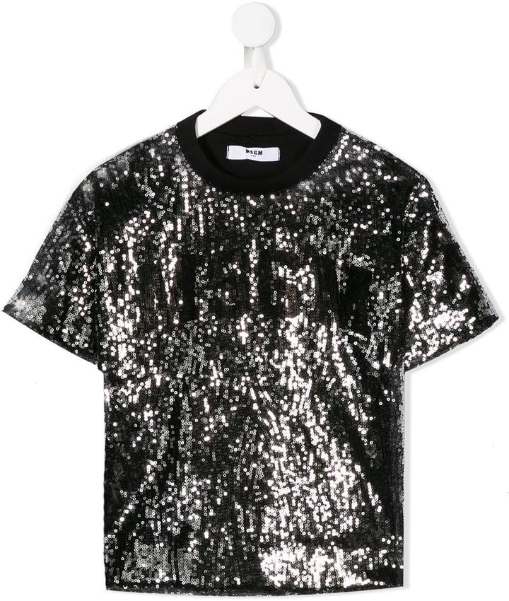 MSGM Kids sequin embellished T-shirt